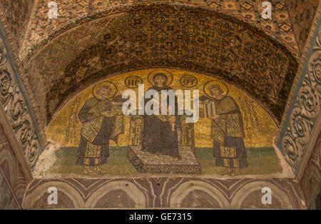 Mosaics inside Hagia Sophia in Istanbul - Stock Photo