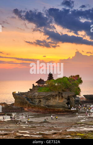 Bali, Indonesia - Tanah Lot Temple at sunset - Stock Photo