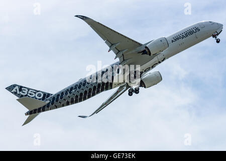 BERLIN, GERMANY - JUNE 02, 2016: Demonstration flight Airbus A350 XWB. Exhibition ILA Berlin Air Show 2016 - Stock Photo