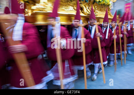 Easter Monday procession (Cofradia del Santísimo Cristo del Perdón).Holy Week. Murcia. Spain - Stock Photo