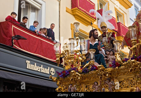 Calle Sierpes.Holy Week procession.`El Carmen Doloroso´.Holy Wednesday. Seville. Spain - Stock Photo