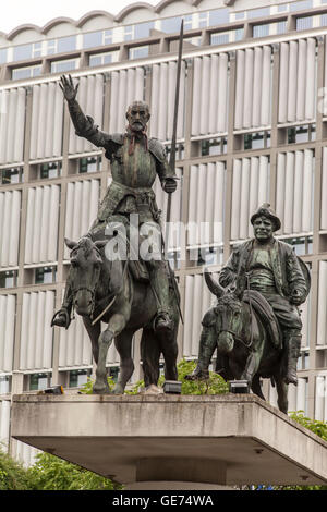 Don Quixote and Sancho Panza sculpture, Brussels, Belgium - Stock Photo