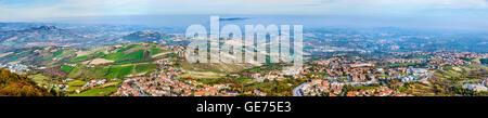 Panorama of San Marino and Italy from Monte Titano - Stock Photo