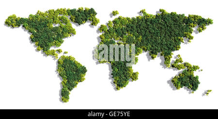 World map made up of various detailed trees on solid white background including the shadows - Stock Photo