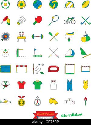 Set of 42 line icons related to Rio Summer Games Vector - Stock Photo