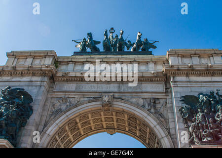Detail of the Soldiers and Sailors Arch in Brooklyn, New York City - Stock Photo