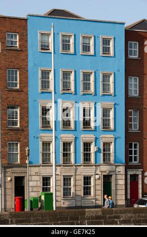 Ireland, Dublin, Arran Quay, blue painted Georgian riverfront building - Stock Photo