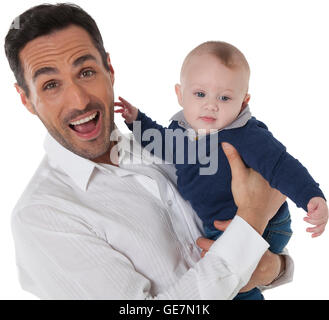 A photo of cheerful man with baby boy Happy father and son are wearing casuals They are spending leisure time isolated - Stock Photo