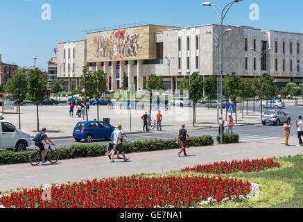 Looking across Skanderbeg Square to the National Historical Museum, Tirana, Albania, - Stock Photo