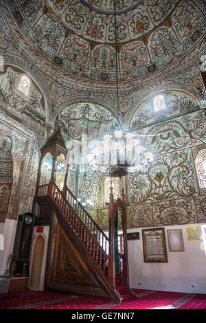 Interior of the Et'hem Bey Mosque on Skanderbeg Square, Tirana, Albania, - Stock Photo