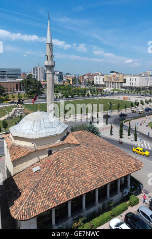 Looking over the Et'hem Bey Mosque and Skanderbeg Square to the National Historical Museum, Tirana, Albania, - Stock Photo