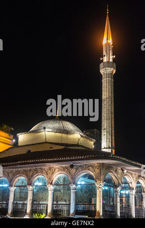 The Et'hem Bey Mosque at night on Skanderbeg Square, Tirana, Albania, - Stock Photo