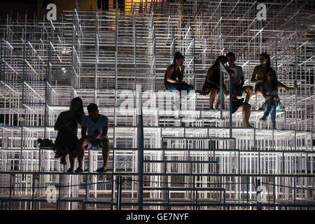 The Cloud Pavilion art installation designed by Architect Sou Fujimoto, on the edge of Skanderbeg Square, Tirana, - Stock Photo