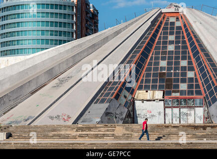 The Pyramid, originally build as a mausoleum and museum to the coummunist dictator Enver Hoxha, now derelict, Tirana, - Stock Photo