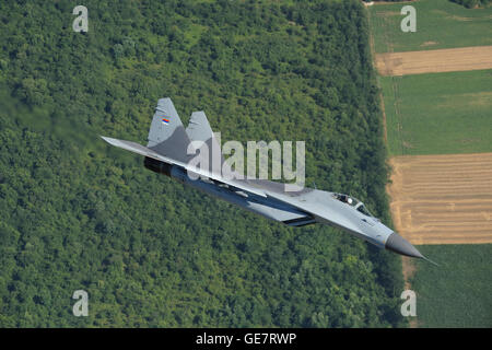 Serbian Air Force Mikoyan-Gurevich MiG-29 (NATO code: Fulcrum) multi-role fighter jet interceptor aircraft in flight - Stock Photo