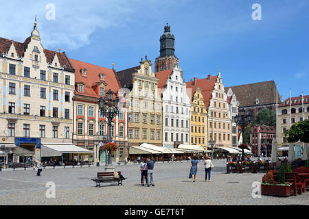 Market Square in the Old Town of Wroclaw - Poland. - Stock Photo