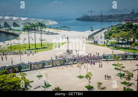 Rio de Janeiro, Brasil - March 06, 2016:  Sign Letters Olympic City in front of the Museu do Amanhã and  VLT Carioca - Stock Photo