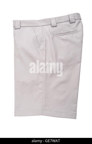 Grey short pants trousers  for men isolated on white background - Stock Photo