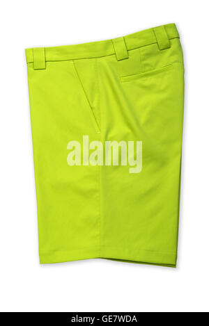 Green short pants, trousers on white background - Stock Photo