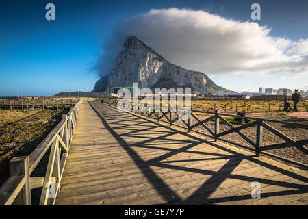 The Rock of Gibraltar from the beach of La Linea, Spain - Stock Photo