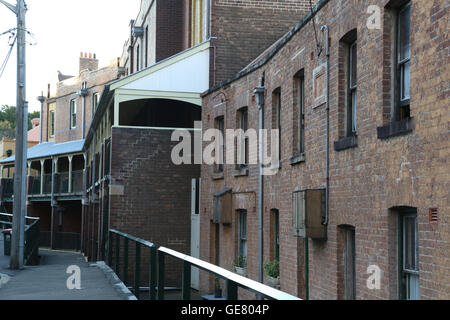 Old buildings in the historical The Rocks area of Sydney, Australia - Stock Photo