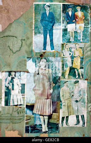 Pictures and cuttings from soviet magazines on the walls of abandoned Pripyat apartments inside the Chernobyl exclusion - Stock Photo