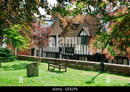 Historic medieval half timbered buildings surrounding the Church, in Church Square, Rye, East Sussex, England, United - Stock Photo
