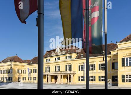 Laxenburg: square Schlossplatz, palace Blauer Hof, Austria, Niederösterreich, Lower Austria, Wienerwald, Vienna - Stock Photo
