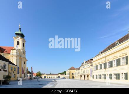 Laxenburg: square Schlossplatz, church, palace Blauer Hof, Austria, Niederösterreich, Lower Austria, Wienerwald, - Stock Photo