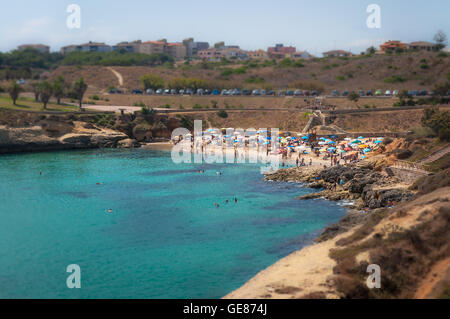 View of balai beach in a sunny day of summer with tilt-shift effect - Stock Photo