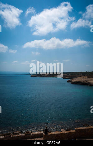 Landscape of beach of Balai, Sardinia, in a sunny day of summer - Stock Photo