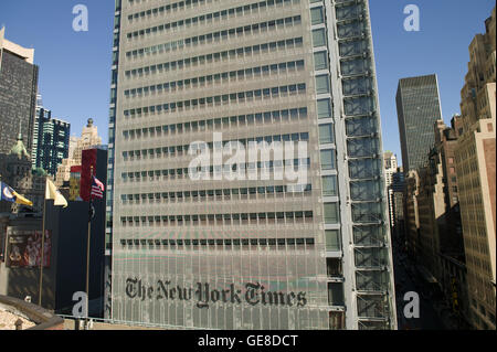 View of West side of The New York Times newspaper headquarters building from the rooftop of the Port Authority Bus - Stock Photo