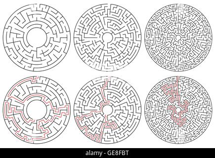Circular mazes. 3 version with different complexity. - Stock Photo