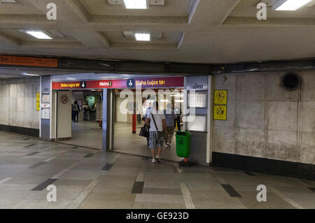 Metro passengers at one of the Metro stations in Budapest, Hungary. - Stock Photo