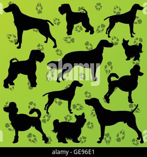 Dogs and dog footprints detailed silhouettes illustration collection background vector - Stock Photo