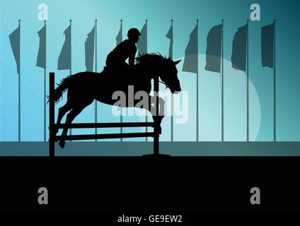 Horse jumping, overcoming obstacles, equestrian sport show with horse and rider vector background concept - Stock Photo