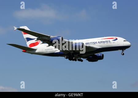 London Heathrow, United Kingdom - May 13, 2016: A British Airways Airbus A380 with the registration G-XLEB approaching - Stock Photo