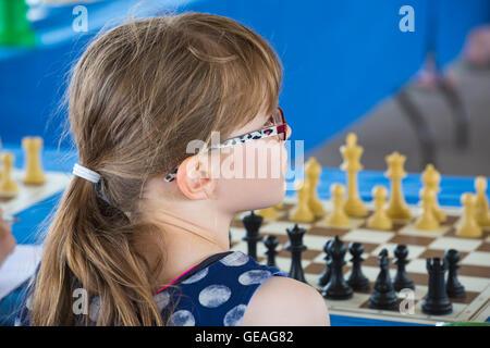 Bournemouth, Dorset, UK. 24 July 2016. Meri's Simultaneous Chess Exhibition in Bournemouth with Meri Grigoryan, - Stock Photo