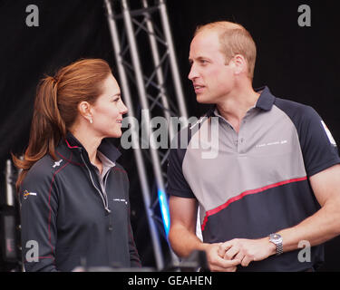 Portsmouth, UK, July 24 2016. The Duke and Duchess of Cambridge give the winners prizes at The Americas Cup World - Stock Photo