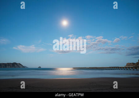 New Zealand, North Island, East Cape Region, Tolaga Bay, full moon, moonlight reflecting on ocean, South Pacific, - Stock Photo