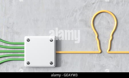 3D Rendering, distributor with bulb, yellow and green power cables - Stock Photo