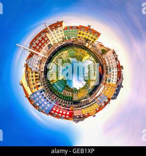Denmark, Copenhagen, Nyhavn, spherical panorama - Stock Photo