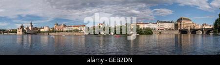 Czechia, Prague, Panorama of Vltava riverside between Charles Bridge and National Theater - Stock Photo