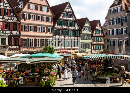 Fresh weekly farmers market on the historic market place, in the old town of Tübingen, Germany - Stock Photo