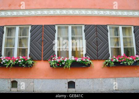 Beautiful windows and flowerpots on an old building in Helsinki, Finland. - Stock Photo