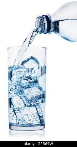 Glass and plastic bottle of water isolated on white background - Stock Photo