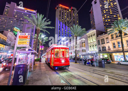 Streetcar on Canal Street in New Orleans, Louisiana, USA. - Stock Photo