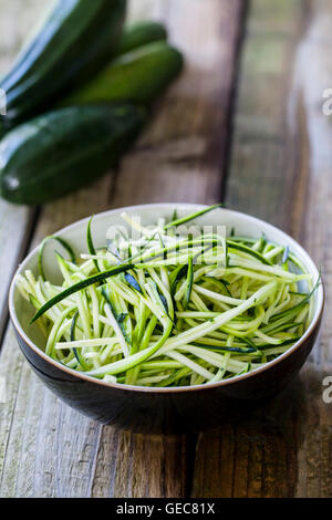 Raw courgette noddles - Stock Photo
