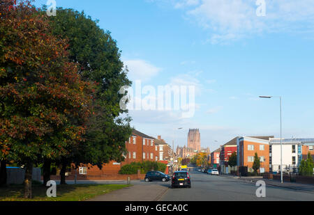 A view of the iconic Anglican cathedral of Liverpool from the streets of Toxteth, L8 in Liverpool city centre - Stock Photo