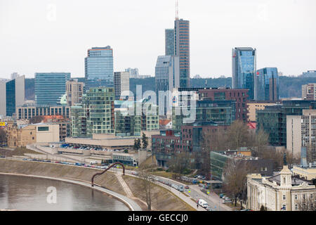 A view across the river and city from Gediminas Hill and the Upper Castle and Gediminas Tower, Vilnius, Lithuania - Stock Photo